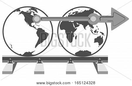 Earth on a railway track. The file has three layers: the rails, the planet, the connecting rod.