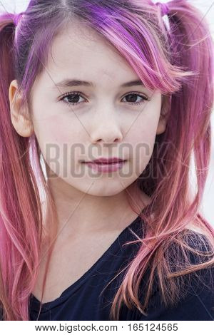 Pre Teen Girl With Pink Hair