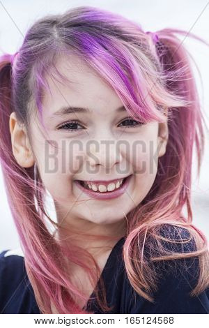 Young Pre Teen Girl With Pink Hair