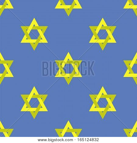 Yellow Star of David Isolated on Blue Background. Seamless Pattern