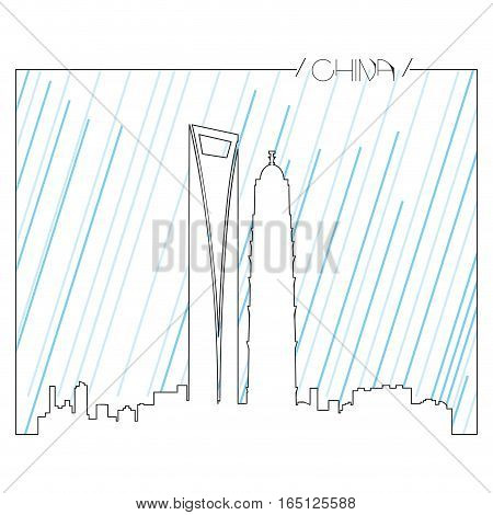 Isolated abstract skyline of Shanghai, Vector illustration