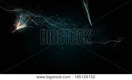 Glittering Stars With Sparkling Trail Abstract Background
