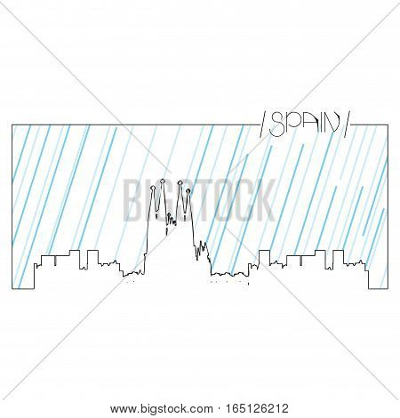 Isolated abstract skyline of Barcelona, Vector illustration