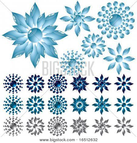 Vector  Set glass flower Blue (Raster version 25481983)