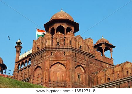 Indian flag on the Red fort Delhi India