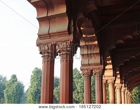 Pillars in the Red Fort Diwan E Aam Building Delhi India.
