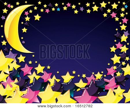 Vector  Abstract background with Moon and Star