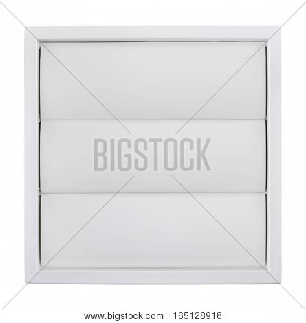 Ventilation grille with a gravitational shutter used to ventilating installations. Object is isolated on a white background.