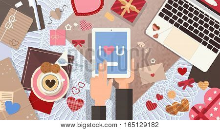 Hand Hold Tablet Valentine Day Gift Card Holiday Decorated Workspace Desk Top Angle View Flat Vector Illustration