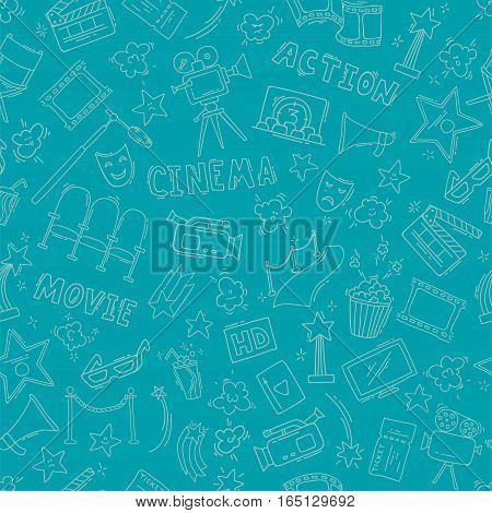 Cinema seamless pattern with hand drawn elements. Background with clapperboard, camera, chairs, awards, film strip, popcorn ticket and others. Vector illustration