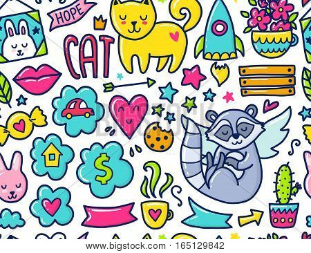 Doodle cute Pattern. Color vector illustration with hearts and flowers, animals and coffee, clouds and stars. Design for prints and cards.