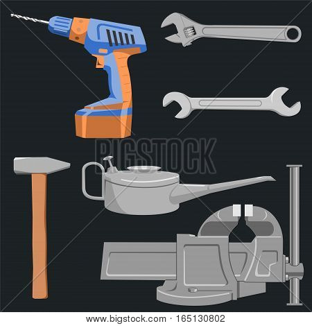 Set of tools. Adjustable wrench and a vise can be animated