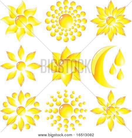 Raster Set of glass Sun and Moon