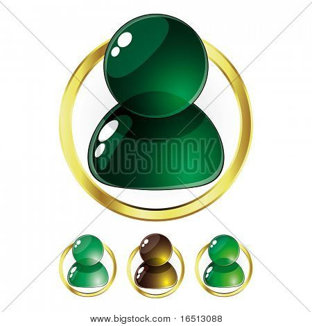 Raster Set of Glass People Green (Vector version  23976820)