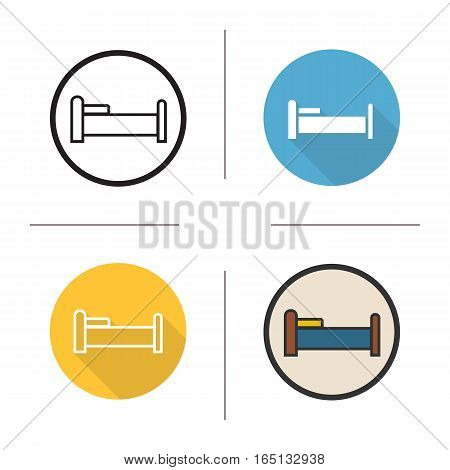 Bed icon. Flat design, linear and color styles. Isolated vector illustrations