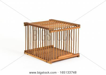 Vintage Bamboo Pet Cricket Cage on White Background