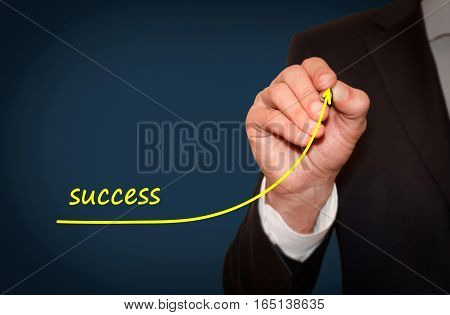 Businessman draw growing line symbolize personal success