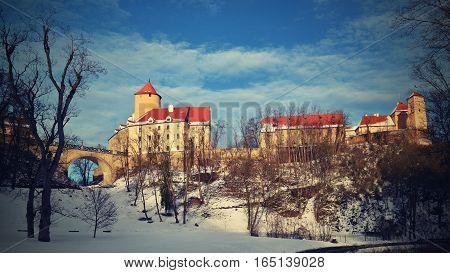 Winter landscape with a beautiful Gothic castle Veveri. Brno city - Czech Republic - Central Europe.