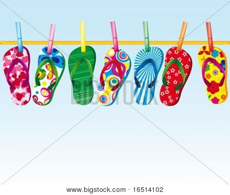 Colorful Flip Flops on a rope