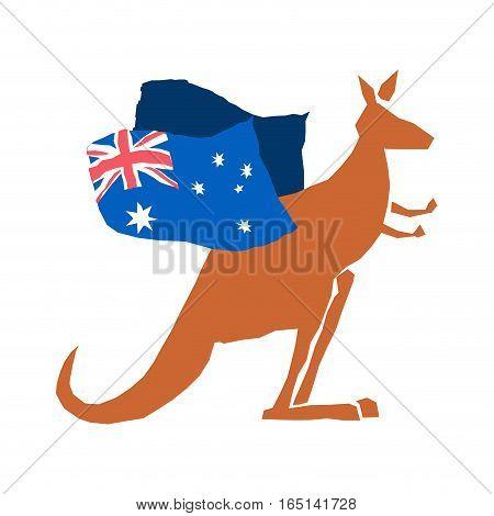 Australia Day Emblem Holiday. Kangaroos And Australian Flag. Logo For Traditional Feast