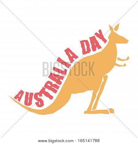 Australia Day. Traditional Australian Patriotic Holiday. Kangaroo National Animal Of Country. Januar