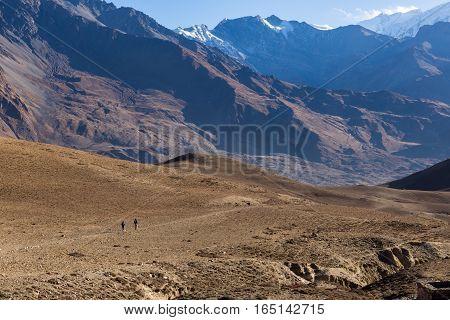 Hiking in Himalaya mountains. Lower Mustang Nepal