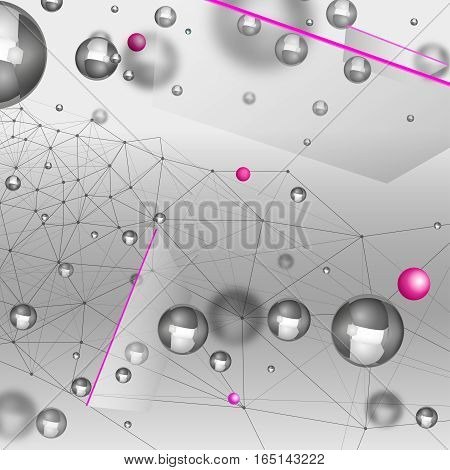 Abstract molecules graphic design. Beautiful vector illustration with glossy volumetric particles in light grey and silver colours. Atomic scientific, medical or biological background.