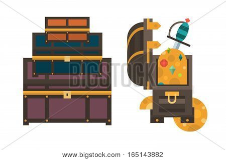 Vintage wooden treasure chest with golden coin vector illustration. Old money box isolated on white. Wealth antique rich jewelry piratic open money container.