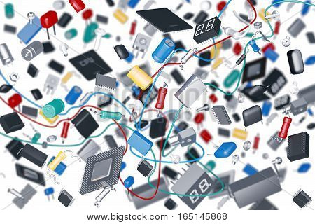 3D render of a variety of electronic components on a white background