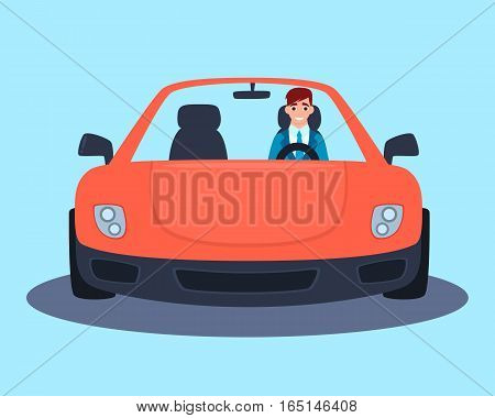 Young successful businessman in a red sport car. Vector illustration