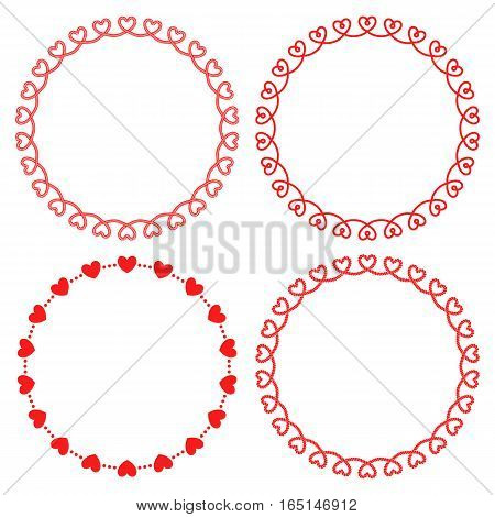 Vector set of monochrome romantic round frames with hearts. For decorating greeting cards for Valentine's day wedding
