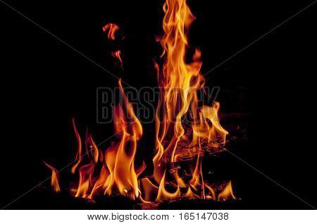 flames in black background, fireplace, heat, warm