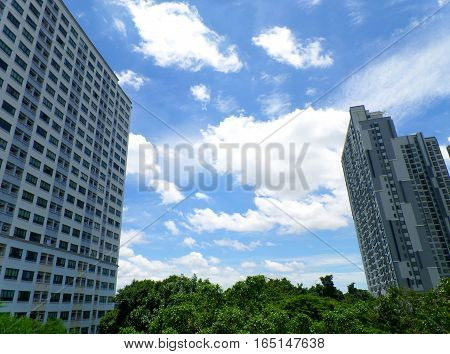 White Fluffy Cloud Floating on Vibrant Blue Sunny Sky amongst the High Buildings in City Center