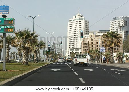 TEL AVIV, ISRAEL, 31 MARCH 2013 - Editorial photograph of driving on Kaufmann Street. Well maintained and signposted roads and good law enforcement are resulting in a steady trend in increased road safety in Israel