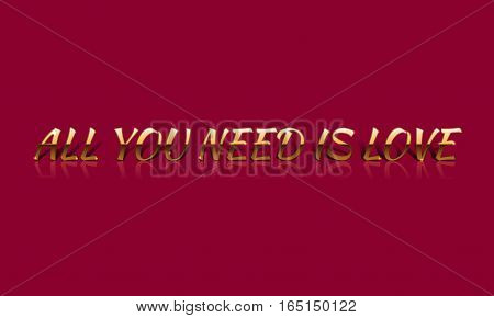 All You Need Is Love Golden Vector Drawn Card.