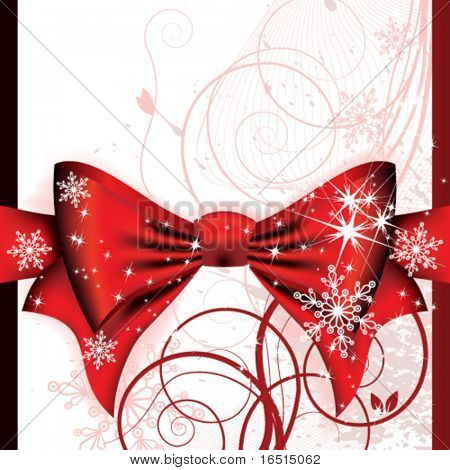 Big red bow on a magical Christmas letter.