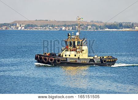 Tugboat In Harbor Quayside