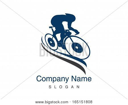 track cycling blue logo on white background