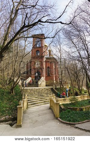 The MOUNTAIN VILLAGE NOVOROSSIYSK RUSSIA - March 08.2016: Church of the Icon of mother of God life-giving spring in the desert Theodosius Caucasian
