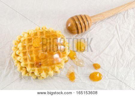 Waffle Cookies And Sweet Honey