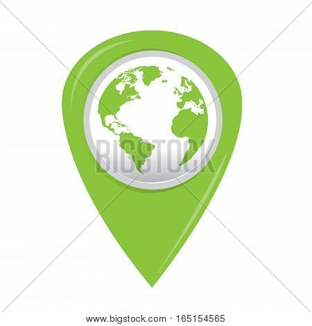 Isolated web pin with an earth icon, Vector illustration