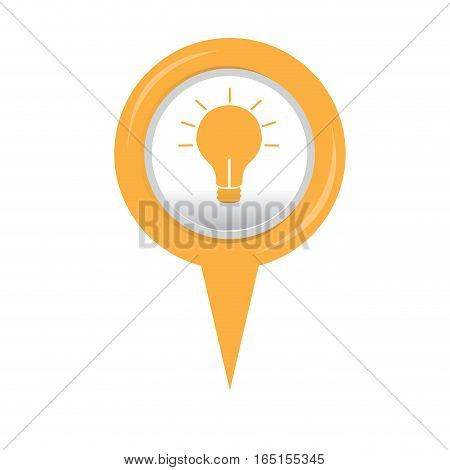 Isolated web pin with a lightbulb icon, Vector illustration