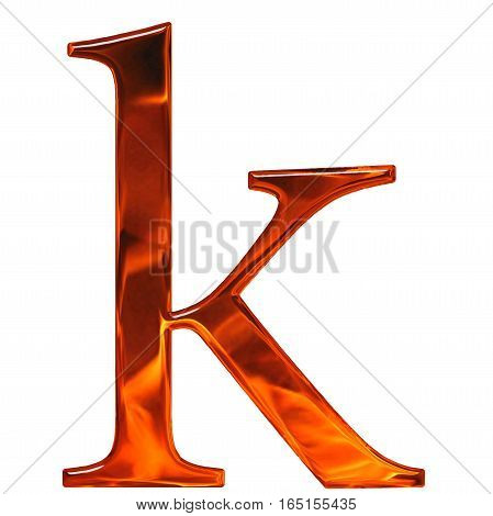 Lowercase Letter K - The Extruded Of Glass With Pattern Flame, Isolated On White Background