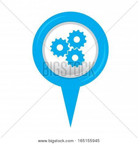 Isolated web pin with a gear icon, Vector illustration