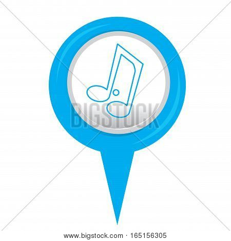 Isolated web pin with a musical note icon, Vector illustration