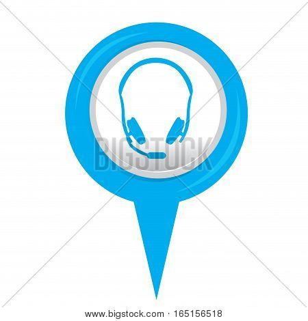 Isolated web pin with a headphones icon, Vector illustration