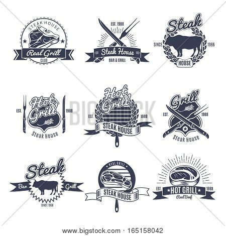 Set of nine isolated vintage steak labels oldschool with decorative ribbons text cutlery and animals silhouettes vector illustration