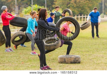 Kyiv Ukraine - October 08 2016. Outdoor CrossFit training preparation for competition