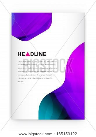 Visual identity with letter logo elements bright gradients blend style. Brochure cover template mockups for business with Fictitious name