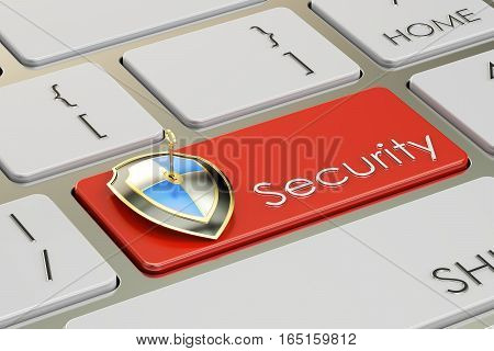 Security concept on keyboard button 3D rendering
